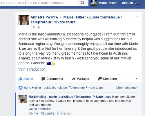 Review Facebook Teleprotour Private Tours Australian guests